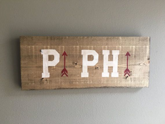 FREE SHIPPING Pi Beta Phi wood handmade sign outline arrow