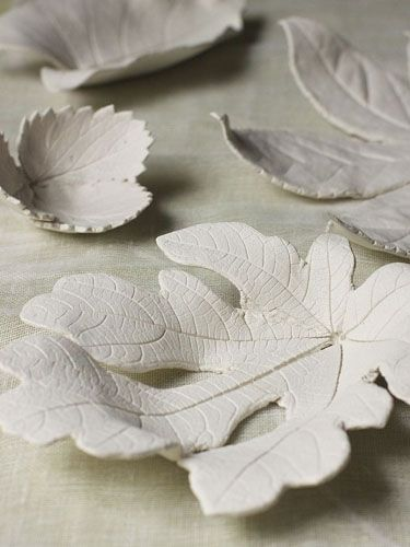 Use air-dry clay and fallen leaves to make mini bowls that are perfect for jewelry, keys, and other knick-knacks.