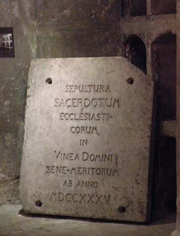 Prague, St.Cyril and Methodius orthodox church, crypt. Stone slab under which hid the entrance to the crypt.
