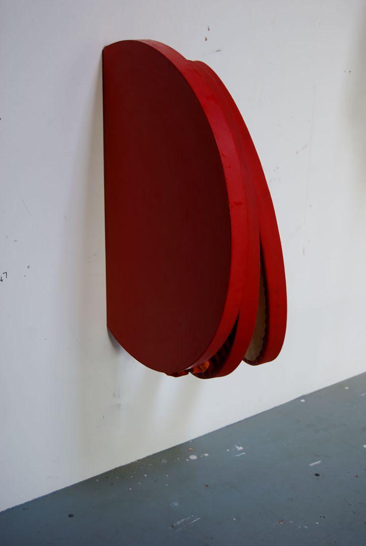 <b>Title:</b>Red Cut Pit Painting Oblique<br /><b>Year:</b>2013<br /><b>Medium:</b>Oil, distemper, cord, wood, and aluminium<br /><b>Size:</b>50 x 70 x 40 cm
