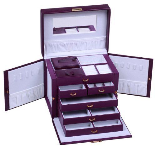 SHINING IMAGE LARGE PURPLE LEATHER JEWELRY BOX / CASE / STORAGE / ORGANIZER WITH TRAVEL CASE AND LOCK by Shining Image. $59.95. Twin fold out side compartments with snap closures. Great for hanging necklaces, bracelets, and other;. Measures 10.25inch x 7.5inch x 8.75inch when closed.. 24 K Gold plated fixtures and lock;Large mirror on top lid;removable mini travel jewelry box (shown at rear left of the jewelry box) that holds even more rings/necklaces/earrings and other jewelry.....