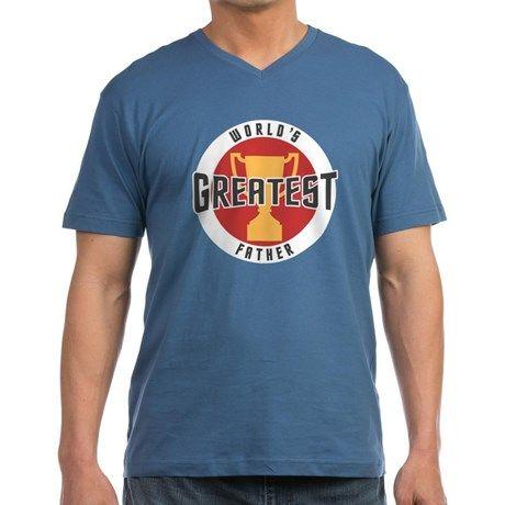 WORLDS GREATEST FATHER Men's V-Neck T-Shirt on CafePress.com.com #fathers #dad #fathersday