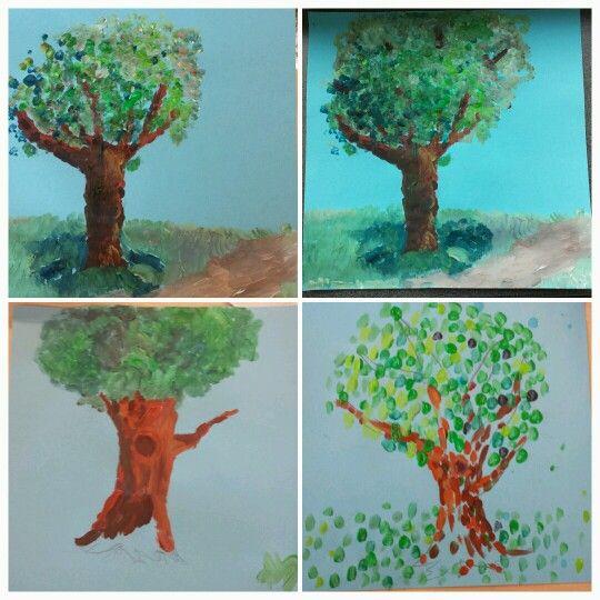 Boom schilderen.  Laat de kinderen d.m.v. het zetten van streepjes met een dunne kwast een boom schilderen. Laat ze daarbij meerdere kleuren groen en bruin gebruiken (mengen). Tip: donkere kleuren zorgen voor meer diepte. Zonlicht op de boom kun je creëren door aan een kant een lichte kleur te gebruiken.