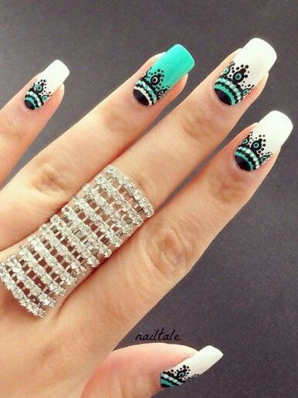 Fashionable-Green-and-White-Nail-Art-Design