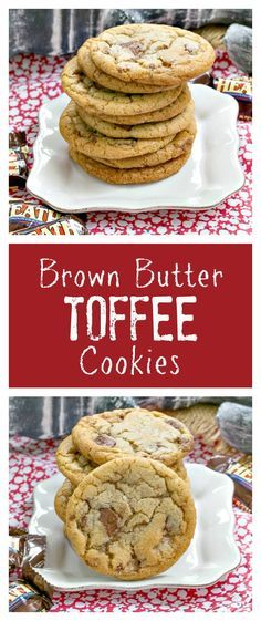 Brown Butter Toffee Cookies   Chewy cookies filled with toffee chunks with a nutty nuance thanks to brown butter!