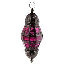 Lanterna Indiana Decorativa Pêndulo Velas Kandla Rosa 58cm