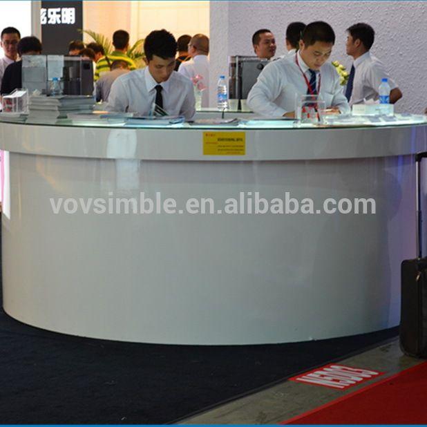 Diseño moderno mostrador encimera de superficie sólida corian recepcion para muebles de oficina