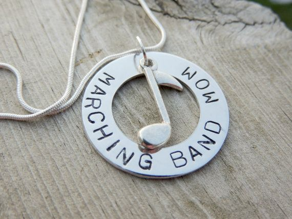 Personalized Hand Stamped MARCHING BAND MOM necklace custom jewelry Sports…