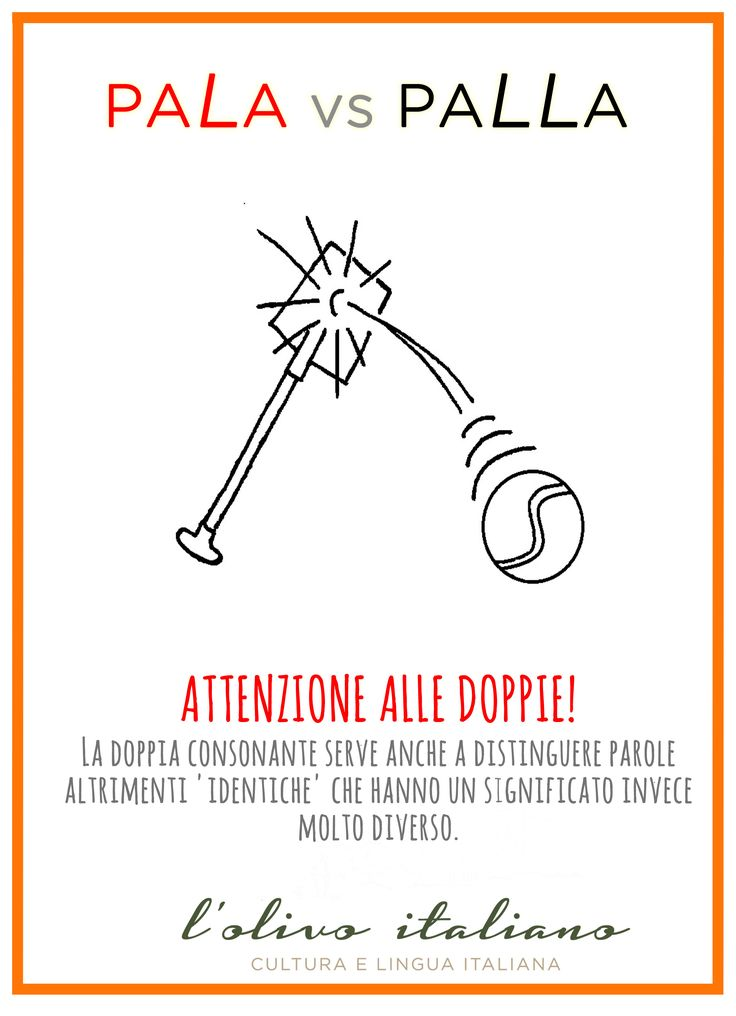 ATTENZIONE ALLE DOPPIE COPPIE! La doppia consonante serve anche a distinguere parole altrimenti 'identiche' che hanno un significato invece molto diverso. In questo caso anche la pronuncia è molto importante! ATTENTION TO DOUBLE PAIRS! The double consonant is also used to distinguish words otherwise 'identical' that have a completely different meaning. In this case also the pronunciation is very important!