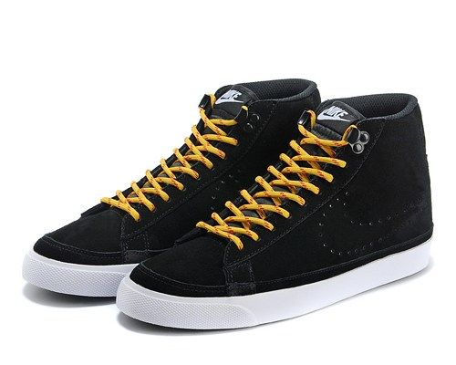 Cheap 371761-808 Nike Blazer MID suede black yellow men running shoes
