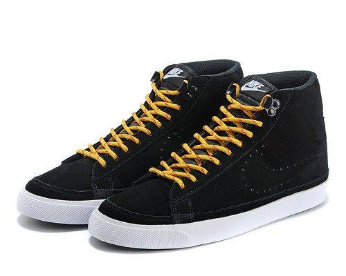 Cheap 371761-808 Nike Blazer MID suede black yellow men running shoes