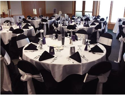 Black, Silver and White table setting