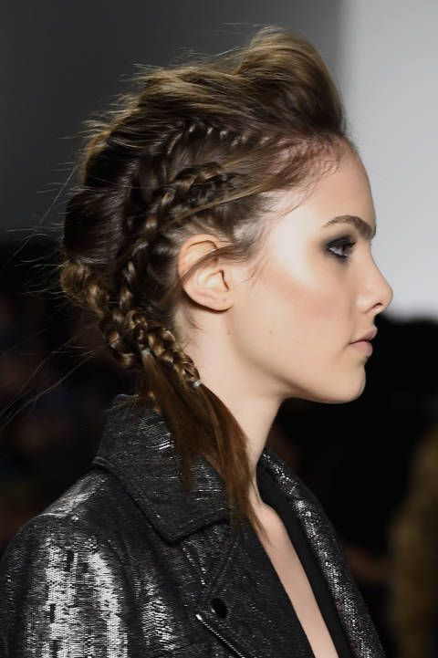 More beautiful braids at Marissa Webb. This multi-plait look was created by the TRESemme team and the shimmering smoky eyes were courtesy of Maybelline.
