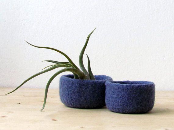Free Shipping - Blue denim felted bowl / Two nesting bowls in Denim blue / Cozy Air plant holder - Wool vessel