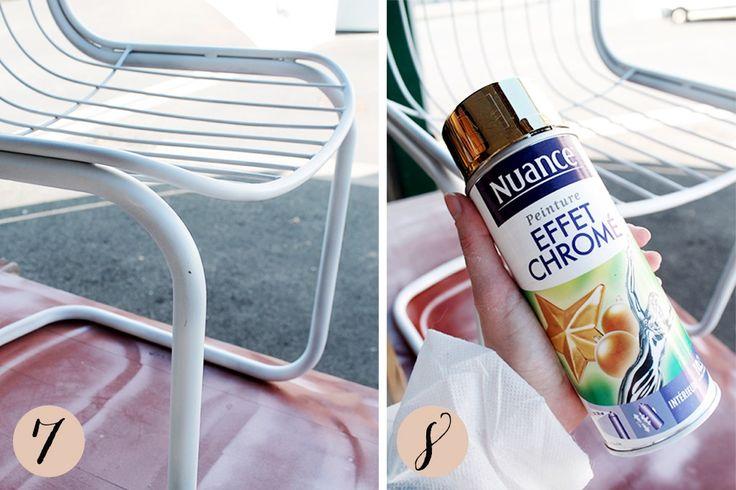 DIY: comment peindre des chaises en métal en doré