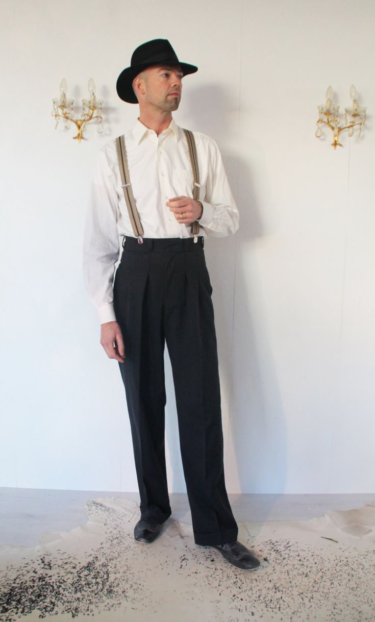 high waist trousers black pin stripe  1940s mens fashion
