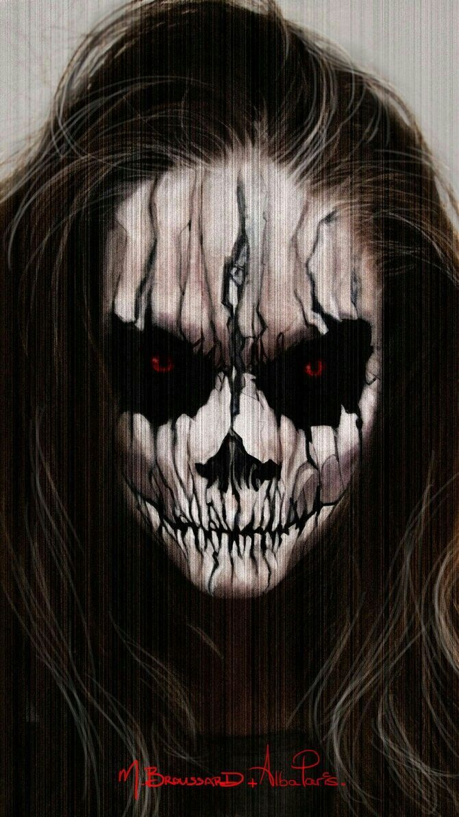 Scary cool Halloween make-up idea.  But it might scare the little kids:):