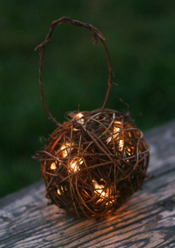 Small Outdoor Rustic Wedding Decoration Candles Firefly Lightning Bug Lanterns With Moss Woodland Forest Summer Fall CHIC
