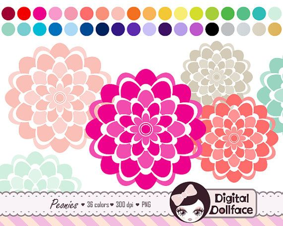 Digital Flower Clipart Peony Clip Art Card by DigitalDollface