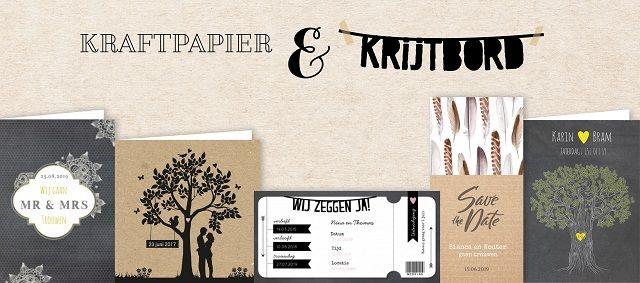 Trouwkaarten kaftpapier en krijtbord