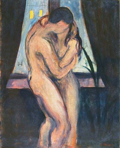 The Kiss. EDVARD Munch created many works in a thematic vein, including The Kiss, & exhibited them along side each other in what he called The Freize of Life. This painting captures an intimate moment between two nudes, the woman pulling the man towards her in a lover's embrace, mouths locked in a passionate kiss, and is an example of Munch's theme of the femme fatal as the dominant creature, taking control to feed her sexual appetite.