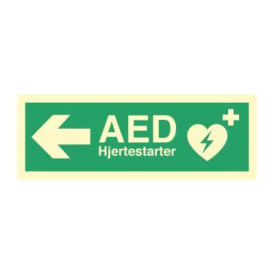 AED Hjertestarter til Venstre - Kjøp Nødskilt online