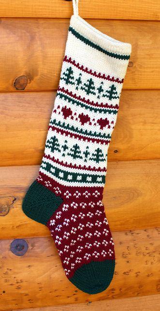 Christmas Stocking Knitting Pattern Ravelry : Ravelry: Christmas Stocking - Hearts and Pines pattern by ...