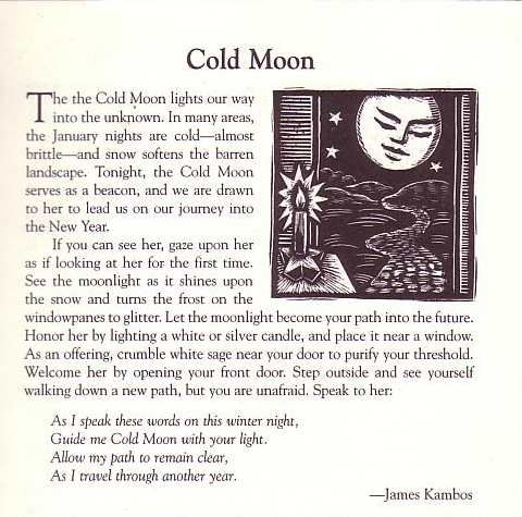 The Cold Moon is Wednesday January 15th.
