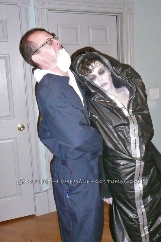 Creepy Corpse in a Body Bag and Coroner Couple Costume ... This website is the Pinterest of costumes