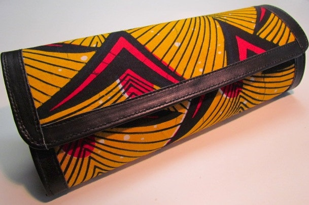 Yellow, red and black African print clutch