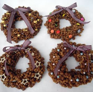 Chocolate Rice Krispie Wreaths Recipe   BakingMad.com