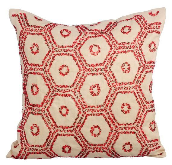 Ivory Decorative Throw Pillow Covers 16x16 Ivory by TheHomeCentric