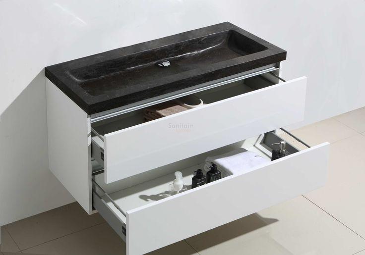 949 met spiegel - Lambini Designs Trend Stone badkamermeubel hoogglans wit 100cm, 0 kraangaten - sk680   Sanitairkamer.nl