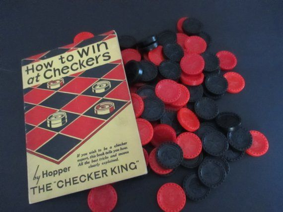 Vintage How To Win At Checkers Booklet Red Black Game Pieces Game Pieces Checkers Vintage