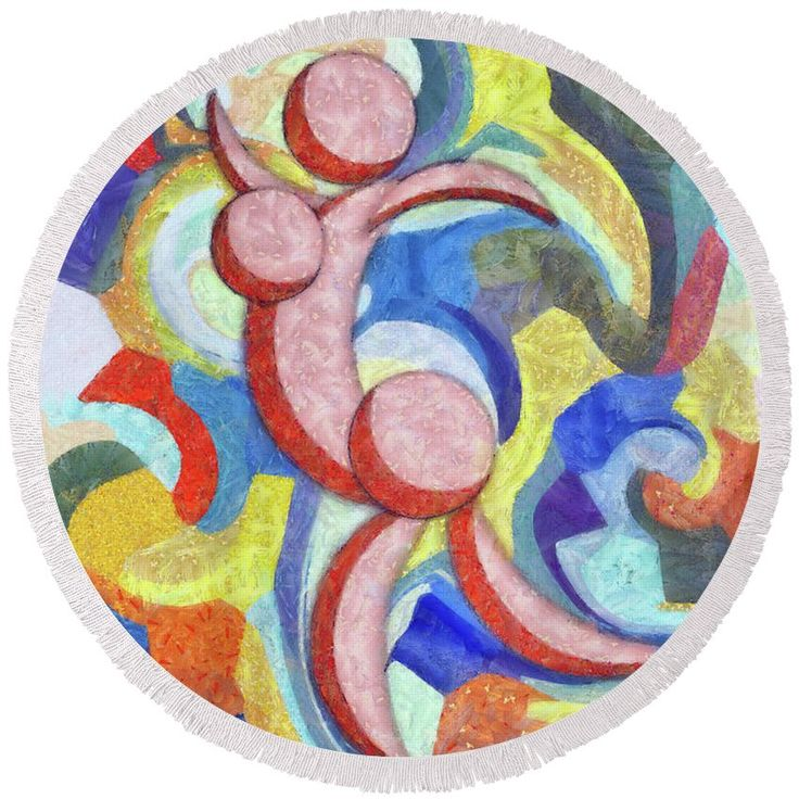 Abstract Round Beach Towel featuring the painting Female Dance Abstract by…