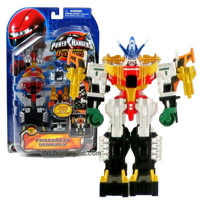 """Bandai Power Rangers Operation Overdrive Series 6"""" Tall Figure Set - TRANSMAX VEHICLES Set H with 5 Vehicles that Combine into Megazord Figure"""