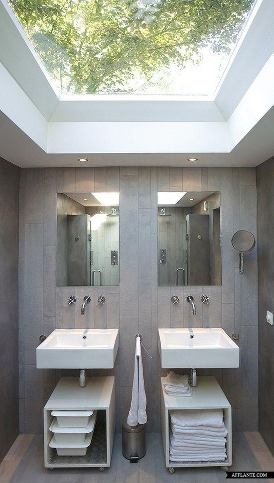 modern #bathroom with huge skylight