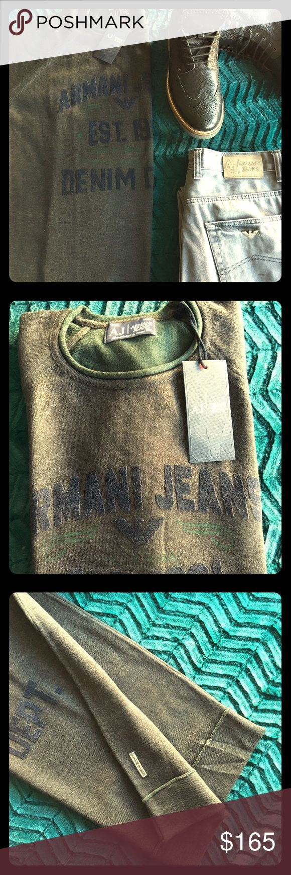 Armani Jeans Sweater Details; Graphic at the front elevates this casual crewneck from Armani Jeans into a super stylish addition to your Sweater.  Crew neck Graphic print at front 100% Cotton Hand wash Imported Armani Jeans Sweaters Crewneck