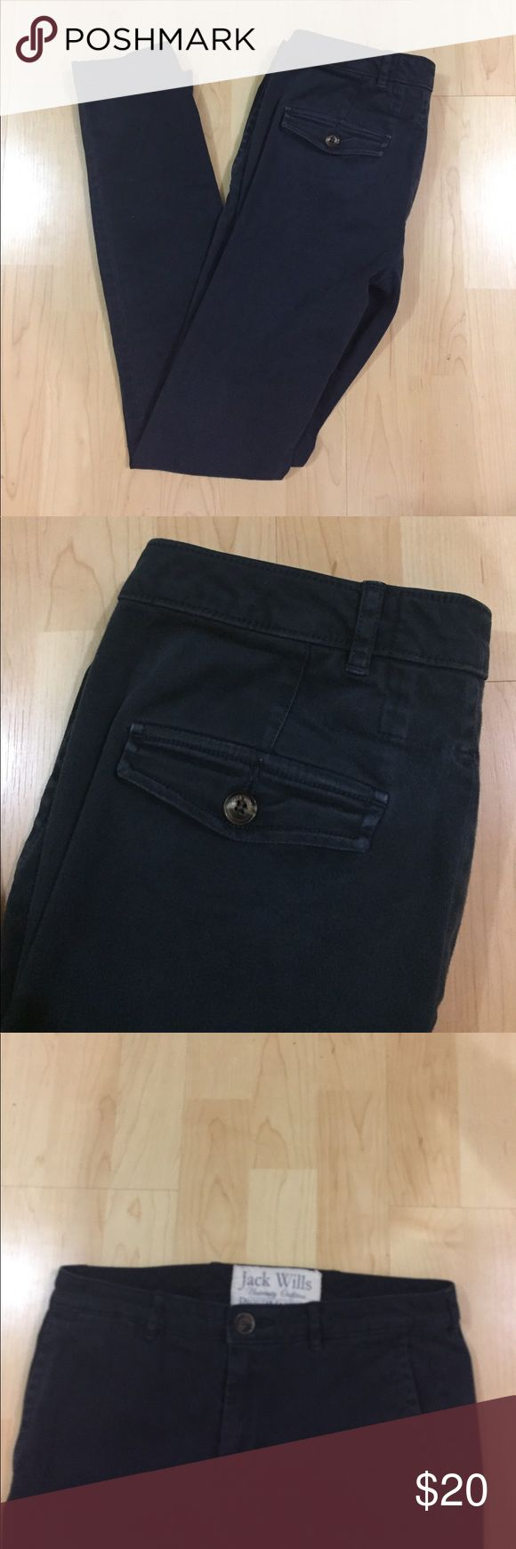 Jack Wills Women's Blue Chinos These Jack Wills pants are in great condition and a nice blue color. They aren't jeans, more of a clean style trouser chino pant with Brown buttons. They fit true to size 2. Selling because they are too big and long on me (I am 00 and 5ft tall) Jack Wills Pants Trousers