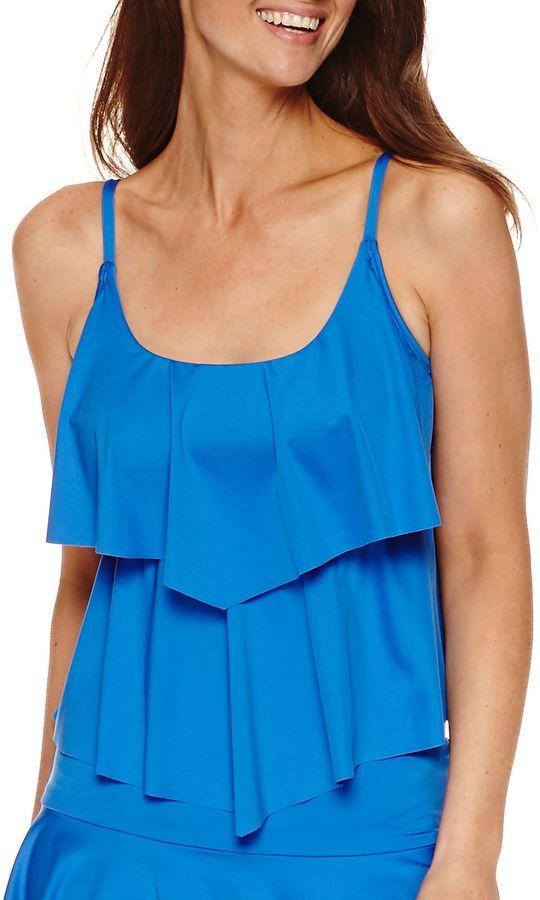 LIZ CLAIBORNE Liz Claiborne Solid Tankini Swimsuit Top http://shopstyle.it/l/cbjH