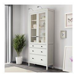 IKEA - HEMNES, Glass-door cabinet with 3 drawers, white stain, , Solid wood has a natural feel.Large drawers for hidden, dust-free storage.The small drawer is perfect for small items such as pens and silverware.The concealed drawer runners ensure that the drawers run smoothly even when heavily loaded.The door's integrated dampers enable it to close slowly, silently and softly.Hinges with snap-on function are easy to fit without screws.The shelves are adjustable so you can customize y...
