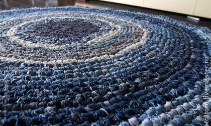 Norrland - синий,деним,джинсовый стиль,джинса,ковер,Вязание крючком,вязание на заказ