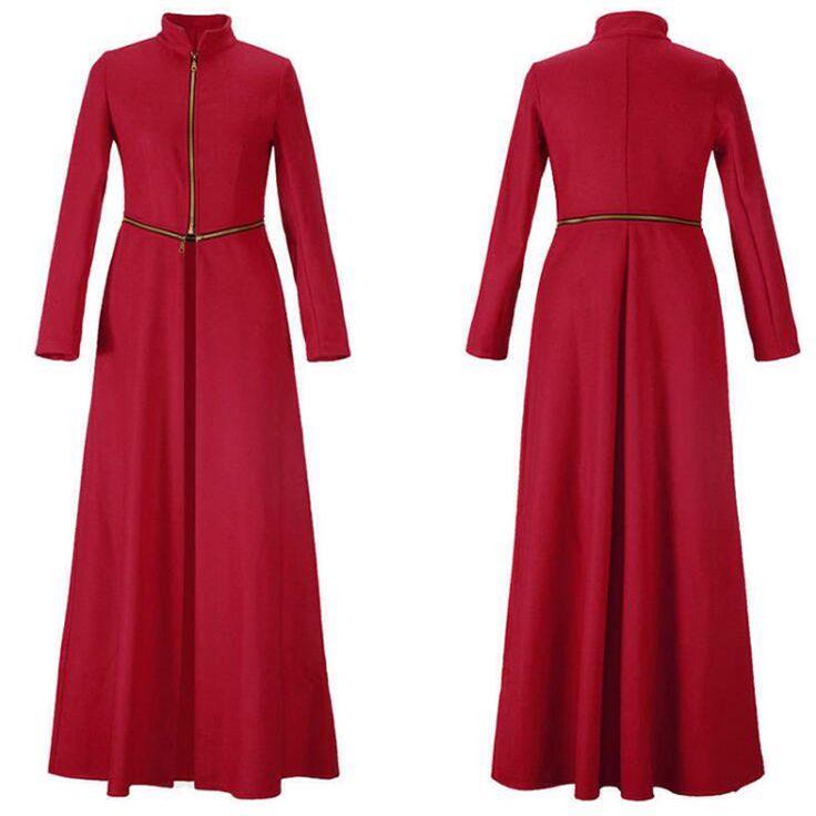 Slanke Rode Jas 2016 Herfst Winter Mode Elegantie Vrouwen Kasjmier Rits Wol Mix Lange Jas Vrouwelijke Casaco Feminino