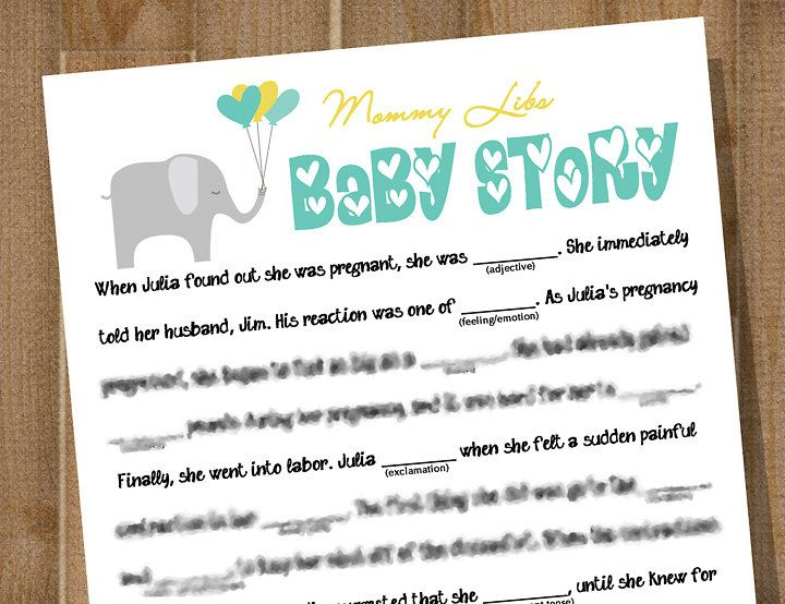 PRINTABLE Baby Shower Game    MOMMY LIBS: Baby Story    Custom