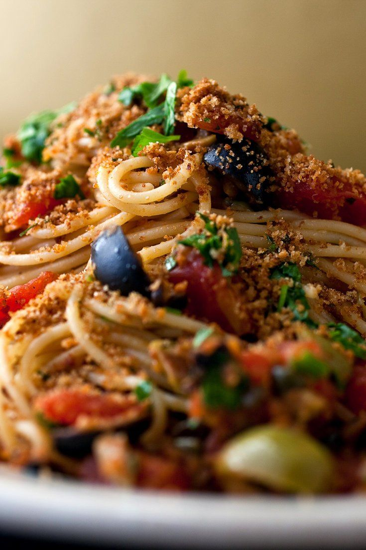 NYT Cooking: Bread crumbs, crisped in olive oil with garlic, make a flavorful addition to just about any pasta. Make your own bread crumbs if you've got bread that's drying out, and keep them in the freezer.