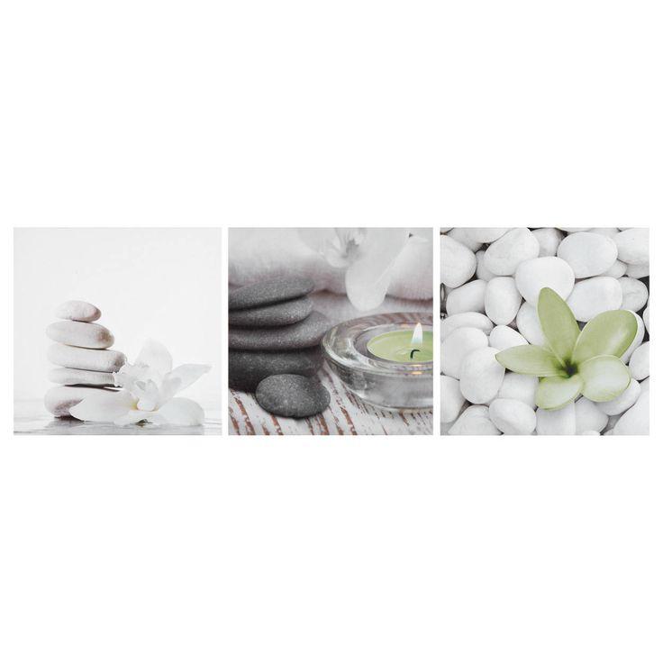 Que vous soyez amateur du style spa ou que vous souhaitiez simplement ajouter un peu d'ohm dans votre espace, créez un sentiment apaisant avec cet ensemble de trois toiles à l'effigie de fleurs et de roches. Doté d'accents de couleur éclatant sur fond neutre, ce trio garantit une ambiance relaxante dans votre décor. Inspirez, puis expirez...