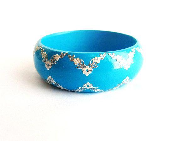 Blue bangle wood painted silver sky blue wooden bracelet