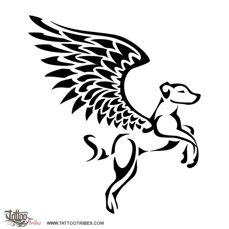 Winged dog. Memory.  This tattoo of a winged dog about to take flight was requested by Marco and it contains a letter S in the tail in memory of a fellow of many an adventure.  http://www.tattootribes.com/index.php?newlang=English&idinfo=6971
