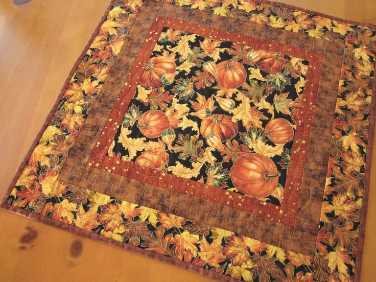 Quilted Table Topper Pumpkins and Leaves