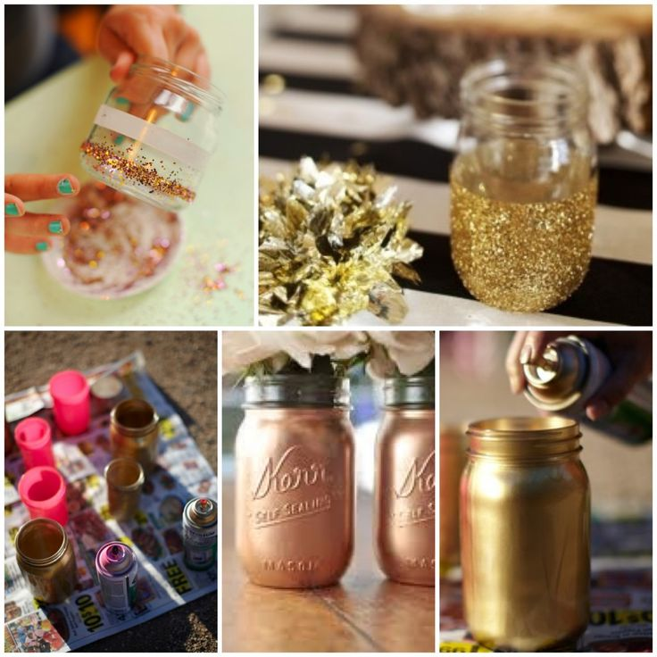 I love this DIY gold mason jars accented with gold sparkles. So pretty, really inexpensive, and so stylish. glitterweddings.com